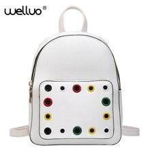 Бренд элегантный дизайн школы Для женщин рюкзак мода красочные отверстие кожа Сумки на плечо белый передний карман для подростков Обувь для девочек XA661B