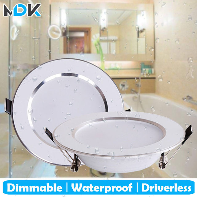 4PCS Dimmable Waterproof LED Down lights 5W 7W 9W 12W 15W LED Downlight Outdoor Leds Ceiling Lamp For Bathroom Bulb