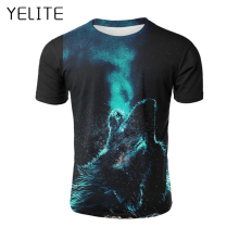 YELITE 2019 New Wolf Pattern T Shirt Men Print Letter T-shirt Summer Casual TShirt for Mens Short Sleeve Beach Tops streetwear
