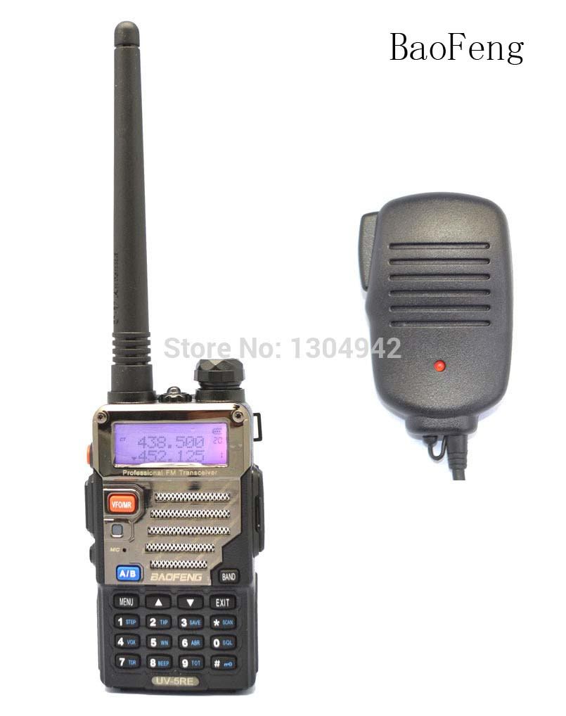 Radio set New Black BAOFENG UV-5RC VHF/UHF Dual Band ham two way Radio amateur walkie talkie + BaoFeng Speaker Mic Telecom Parts
