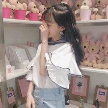 Mihoshop Ulzzang Korean Korea Women Fashion Clothing Ruffles Casual short sleeve t-shirt 207 new loose Tops