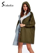 2017 Fashion Women Trench Coat Spring Autumn Female X-Long Hooded Coats Swing Windbreaker Overcoat Outerwear long Top Green