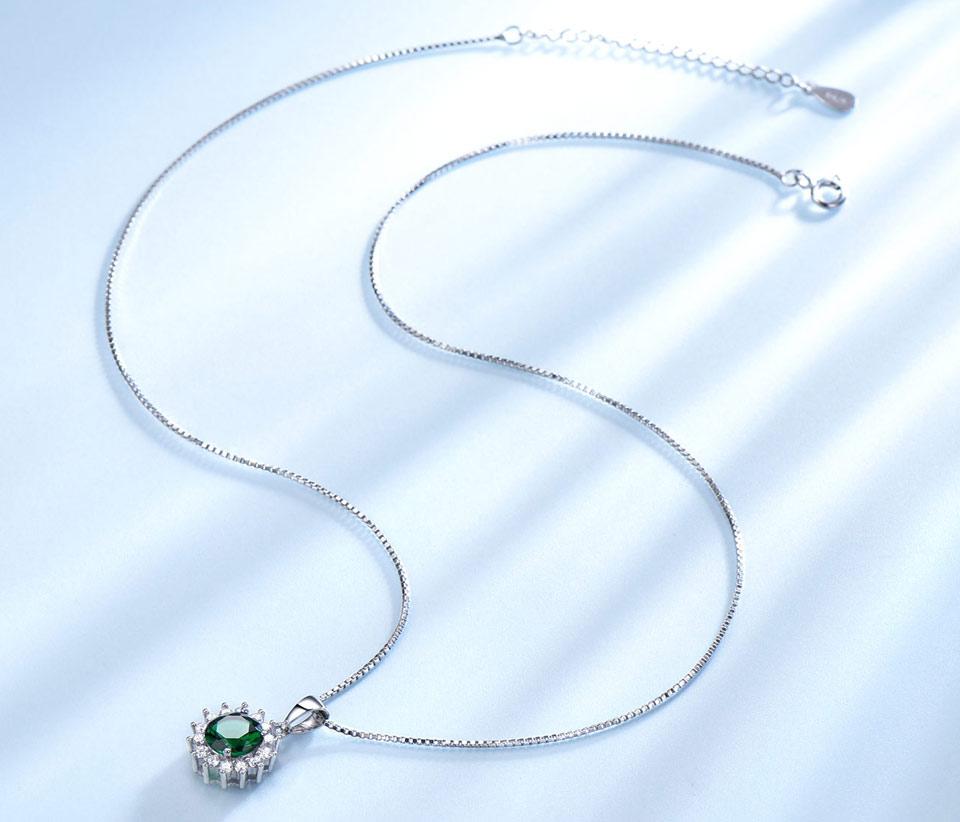 UMCHO Emerald sterling silver necklace pendant for women NUJ032E-1-PC (3)