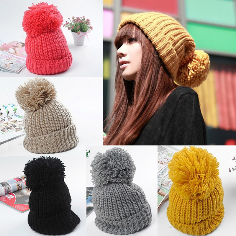 17049bbacd7 Women Winter Slouch Knit Cap Warm Oversized Cuffed Beanie Crochet Bobble Hat