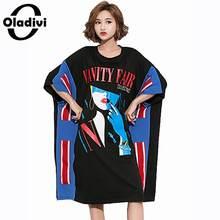 ba29a1ddd Oladivi Oversized Plus Size Mulheres Vestido Vestidos de Impressão de Moda  Feminina Grande Verão Casual Solto Top Tee Camisa Tún..