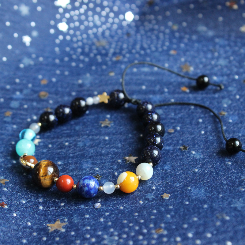 Universe Galaxy The Nine Planets In the Solar System Guardian Star Natural Stone Beads Bracelet Bangle for Women & Men Gift the planets
