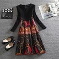 HIGH QUALITY New Fashion 2016 Runway Dress Women's Long Sleeve Retro Printed Vintage Dress Plus size M-3XL W01