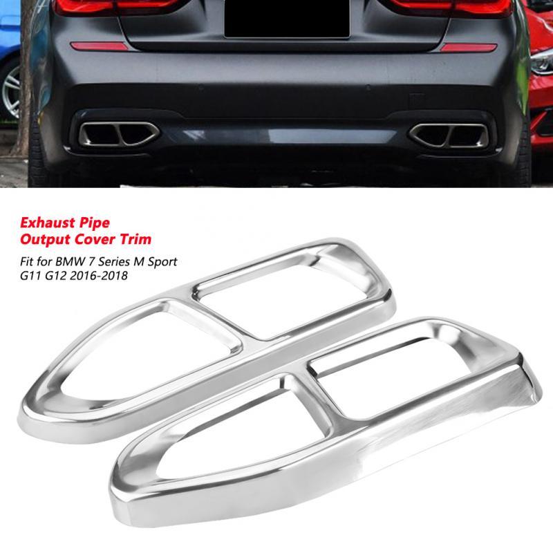 Décoration de garniture de couverture de sortie de tuyau d'échappement de queue d'acier inoxydable de 2 Pc pour BMW 7 Series M Sport G11 G12 2016-2018