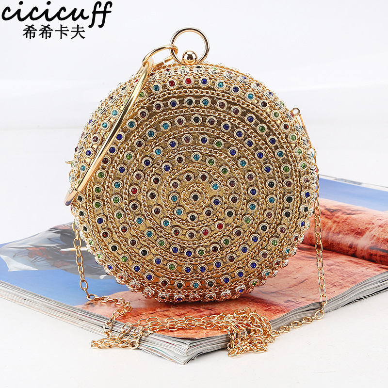 CICICUFF Colorful Diamond Evening Bag Round Ball Fashion Designer Gold Clutch Purse Handbag Wedding Bridal Chain Messenger Bag(China)
