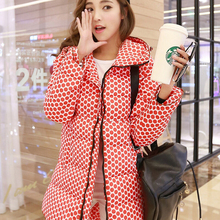 2015 New Fashion warm Winter Jacket women Thick Polka Dot winter coat women Medium-long  Parkas Plus Size  outerwear