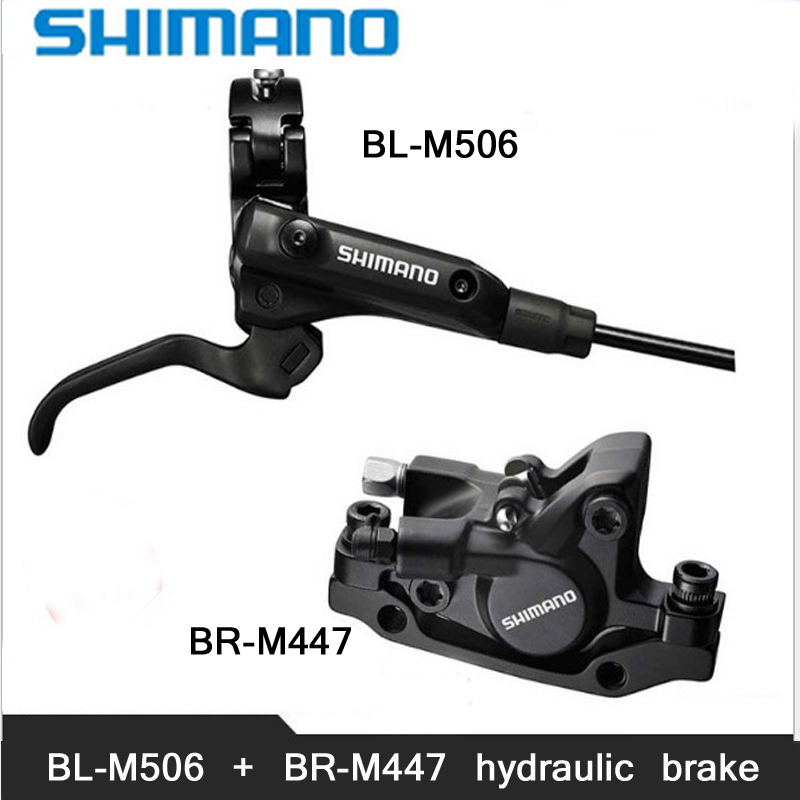 SHIMANO M506+M447 MTB Bike Hydraulic Disc Brake Set Clamp Mountain for Brake Bicycle Disc Brake & Brake Sheet Screws shimano slx bl m7000 m675 hydraulic disc brake lever left right brake caliper mtb bicycle parts