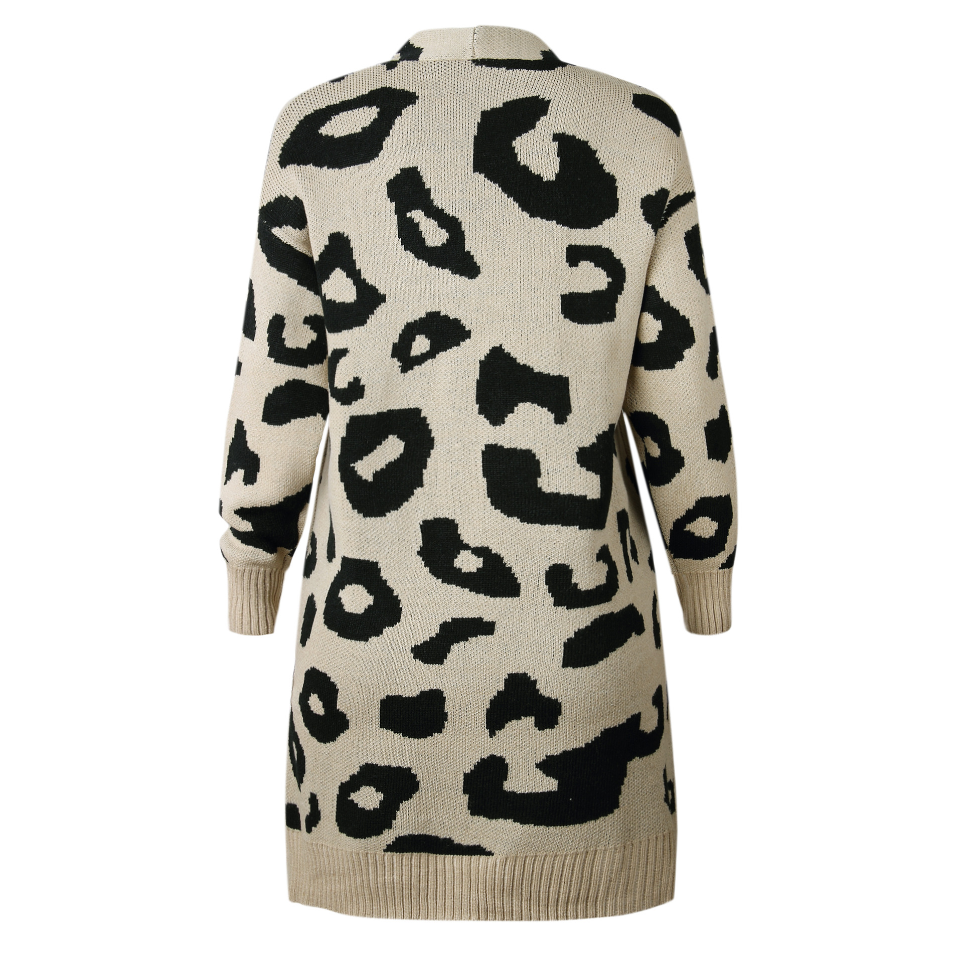 colore Femminile Cappotto Cardigan Del Delle Coreano Maglione Della Lunga  Lungo Femme Inverno Lavorato Leopardo Stampa Cachi Donne Maglia ... f2d0497de23