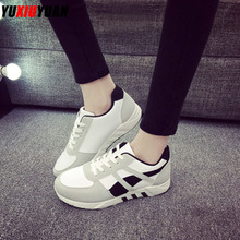 2019 Women Platform Breathable Sewing Thread Lace-Up Running Shoes Popular Low-Top Height Increasing Sneakers