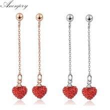 Pendientes anenjary de borla larga de cristal con pequeño corazón rojo pendientes de Color plateado para mujer S-E681