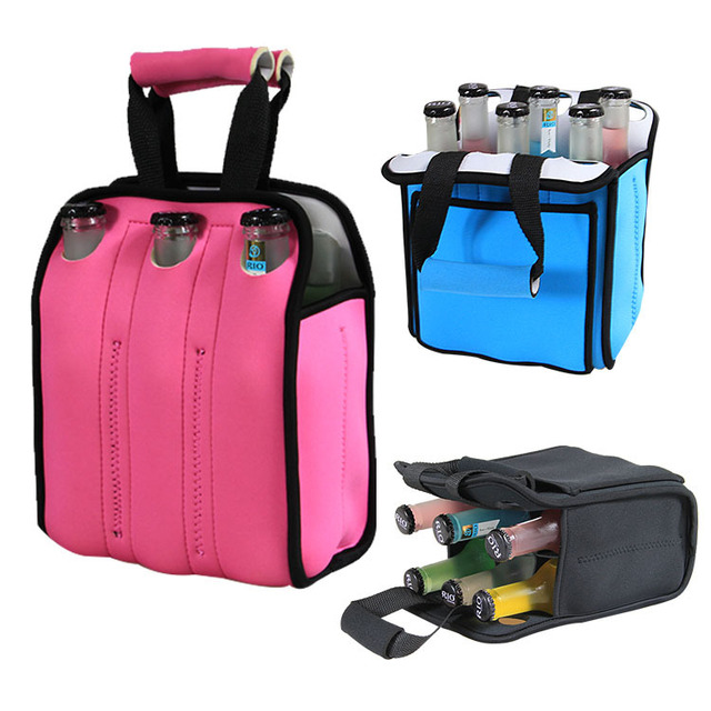 Handled Beer Bottle Cooler Bag Water And 6 Pack Tote
