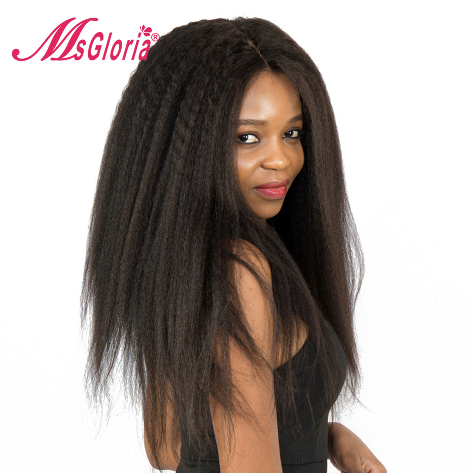 Msgloria Italian Yaki Brazilian Glueless Lace Front Human Hair Wigs For Women Kinky Straight Wigs With Baby Hair 150% Density