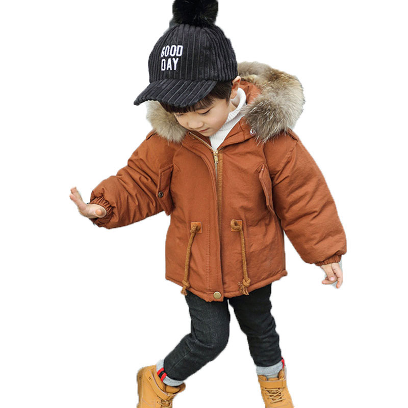 Winter Boys Jackets Real Fur Collar Outerwear Clothes Baby Thick Hooded Cotton Padded Jackets Baby Kids Parkas Warm Coats E254 2017 winter coat women parka long thick warm cotton jacket large fur collar hooded warm parkas cotton padded outerwear hn137