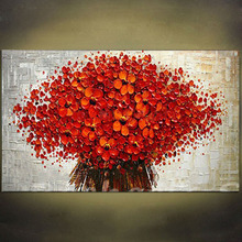 Hand Painted High Quality Flowers Palette Knife Oil Painting Wall Art