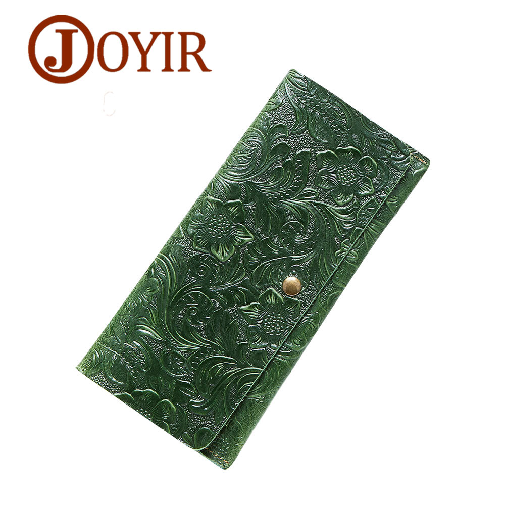 JOYIR Embossed Flowers Genuine Leather Women Wallets Brand Design Fashion Long Purse Clutch Coin Purse Card Holder Lady Female27 bemoreal genuine leather women wallets lady clutches card holder female zipper wallet fashion brand coin keeper sweet long purse