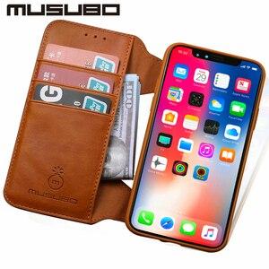 Image 3 - Musubo高級レザーケース × フリップケースiphone 8 プラス 7 6 6sプラスtpu財布カードホルダー着脱式