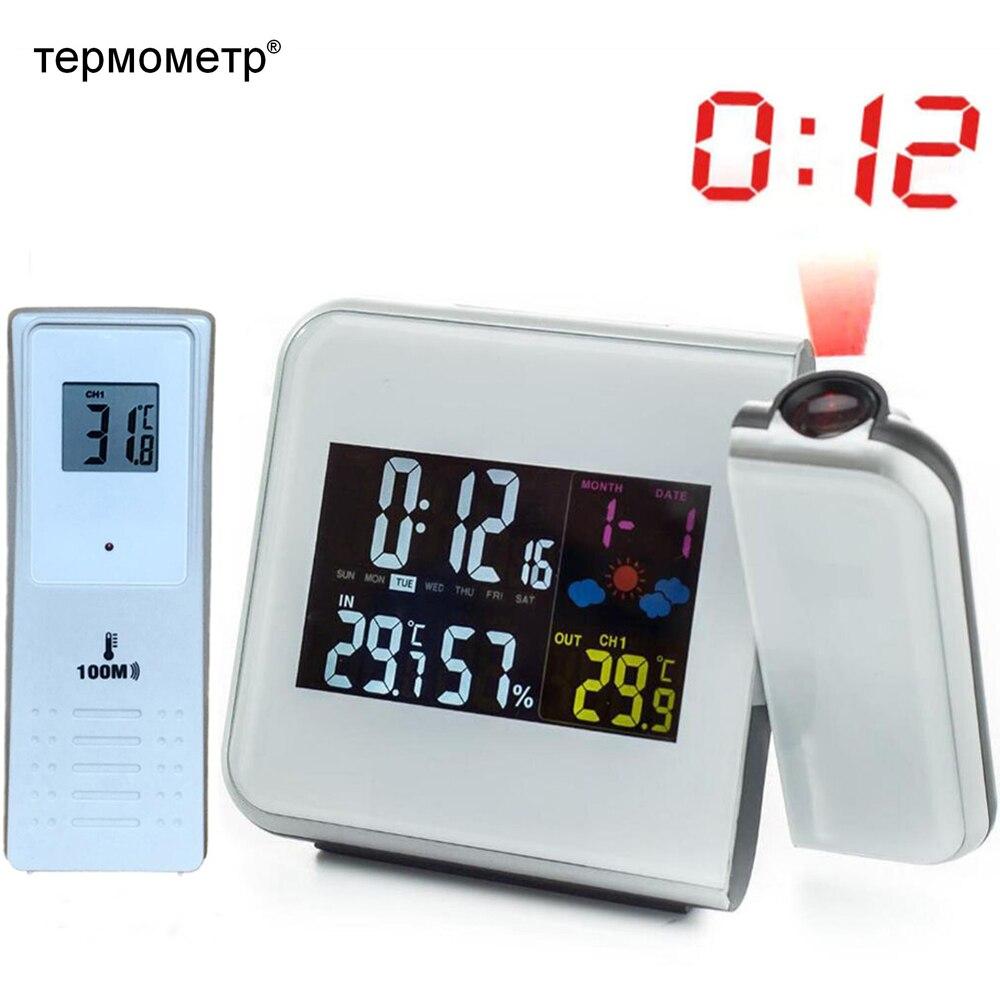 Estação Meteorológica Digital Sem Fio RCC Tempo Controlado Por Rádio Relógio Despertador com Temperatura Exterior Termômetro Higrômetro Umidade