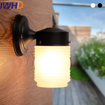 где купить IWHD Glass Wandlamp LED Wall Lamp Creative Waterproof Iron Wall Light Modern White Black Home Lighting Stair Aisle Porch Lights по лучшей цене