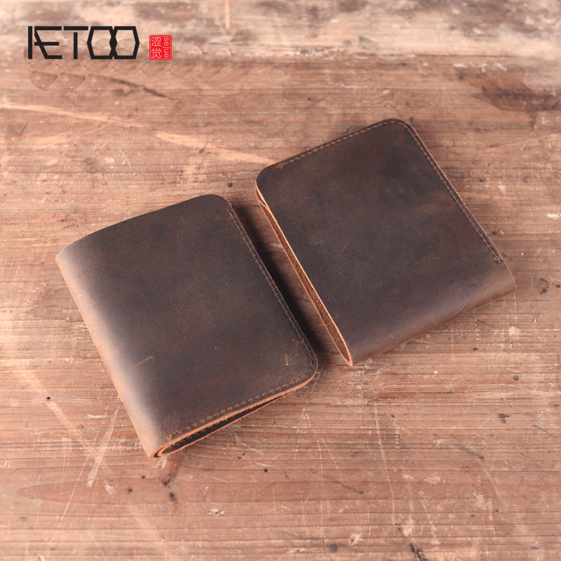 AETOO original Handmade leather wallet male short section cowhide vintage crazy horse skin  simple gift