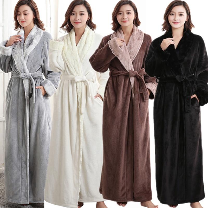 Winter Women Thickening Sashes Nightgowns Female Long Solid Color Sleepwear Womens Elegant Sleepshirts Females Trendy Ladies