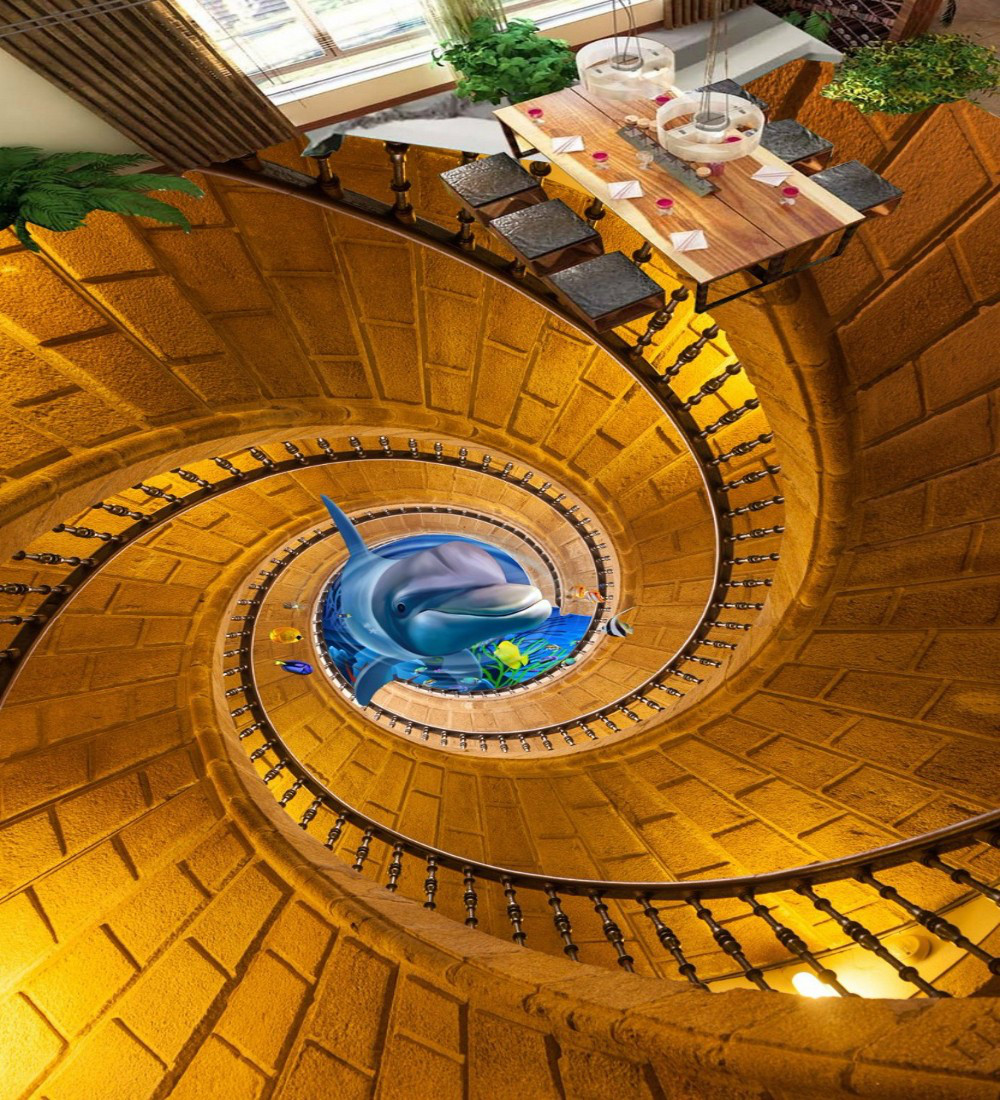Free Shipping 3D stereo Rotating staircase Dolphin flooring mural living room office non-slip floor wallpaper free shipping beach spray 3d dolphin sea floor non slip living room wallpaper office decoration studio wallpaper mural