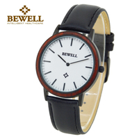 BEWELL Men's Luxury Watch Women Wood Lightweight Watches Brand Luxury Lovers Quartz Leather Strap Business Fashion Style 1051A