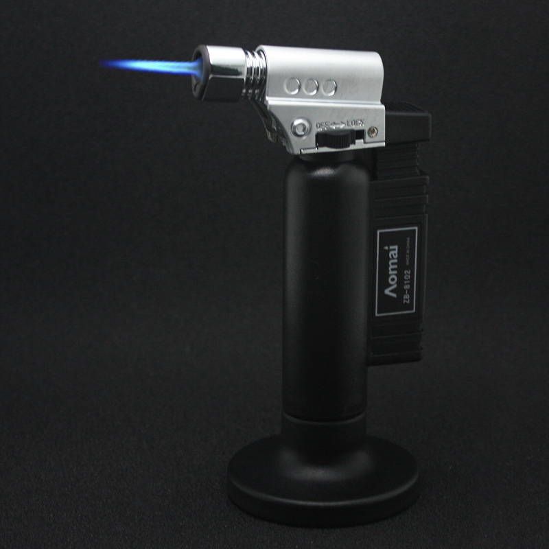 Image 2 - Hot BBQ Outdoor Torch Turbo Lighter Spray Gun Jet Butane Lighter For Kitchen Cigarette 1300 C Fire Windproof Lighter No Gas-in Matches from Home & Garden