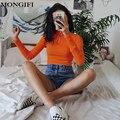 MONGIFI Crop Basic Women Hoodies Zipper Cotton Turtleneck Long Sleeve Korean Sweatshirt 2018 Slim Casual Cute Cropped Hoodie
