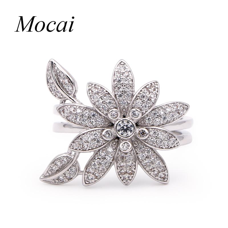 Mocai Christmas Big Sale Jewelry Ring Rose Gold Austrian Crystal Big Flower Party Rings for Women anillos ZK35