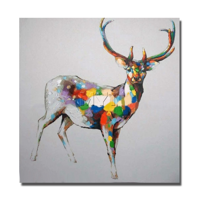 Modern Design Beautiful Color Deer Wall Canvas Painting For Home ...