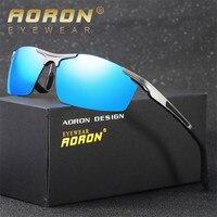 Aoron óculos de sol dos homens de alumínio e magnésio polarizada noite condução espelho masculinos óculos acessórios óculos de proteção por atacado
