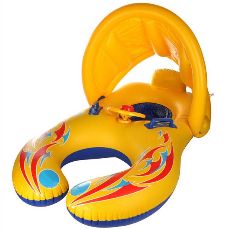 PVC inflatable Baby swimming ring Float Seat Mother and child double swim ring mother an ...