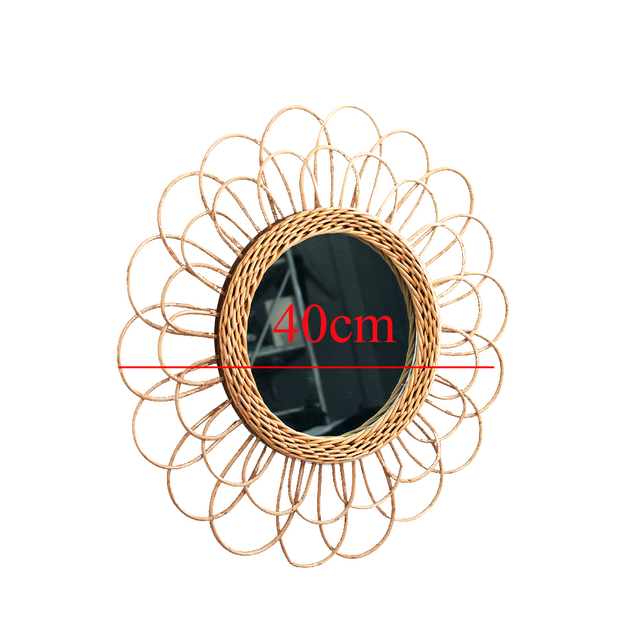 Compact Wall Hanging Mirror Clear Round Space Saving Rattan Dressing Mirror Portable Interior Gifts Art Decor Living Room Home 6