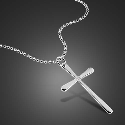 Simple men s 925 sterling silver necklace christian cross pendant simple men s 925 sterling silver necklace christian cross pendant solid silver pearl necklace charm jewelry birthday present in pendant necklaces from aloadofball Images