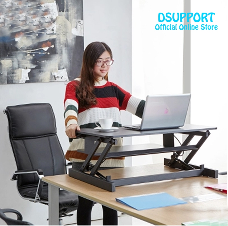 2017 New Ergonomic EasyUp with Handle Sit Stand Desk Riser Foldable Laptop Desk Stand With Keyboard Tray Laptop/Monitor Holder buy monitor riser