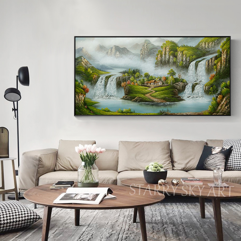 Excellent Artist Hand painted Traditional Chinese Feng Shui Oil Painting on Canvas Chinese Treasure Bowl Landscape Oil Painting - 5