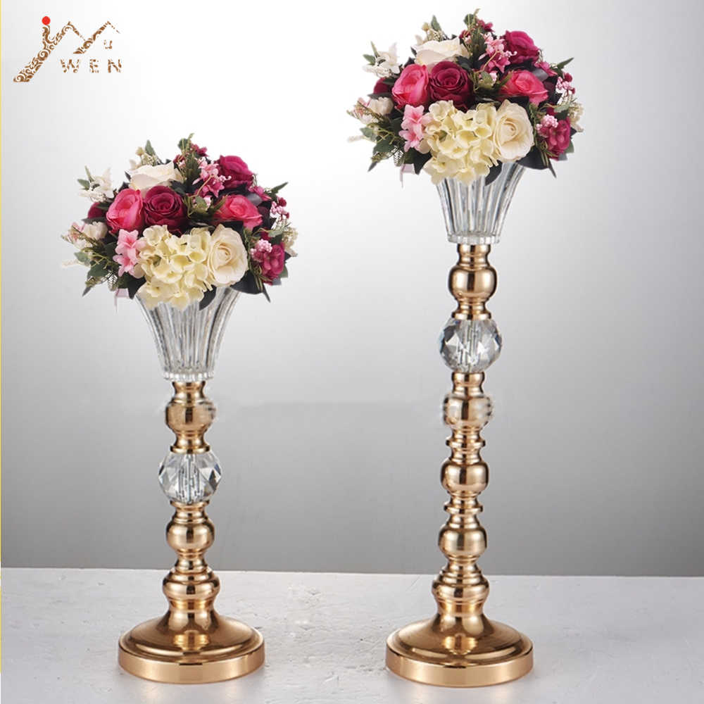 10 PCS Creative Flower Vases Metal Candle Holders Wedding Table Centerpieces Event Road Lead Party Vase Rack Home Decoration