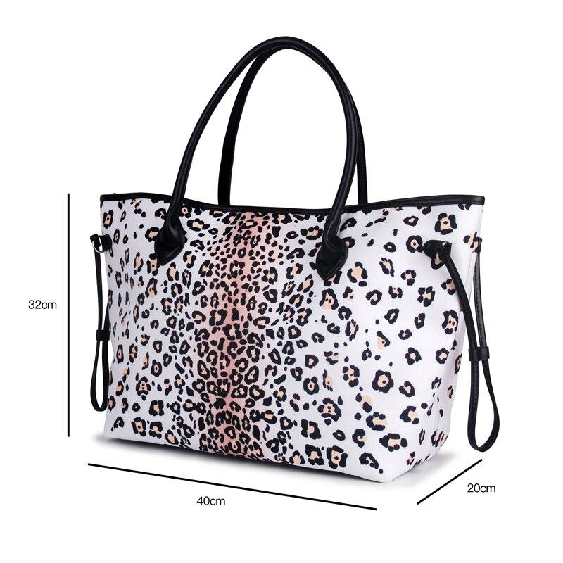 Noires 1010874b Décoré Dom Avec Toile Snow tout Fourre Motifs Leopard Cordon Poignées Sac Sacs Grand Gros Garniture 6zwagg