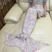Стёганое одеяло «хвост русалки» флис бросить трикотажные взрослых кровать одеяло плюшевый плед на диван-кровать пушистый покрывала охватывает