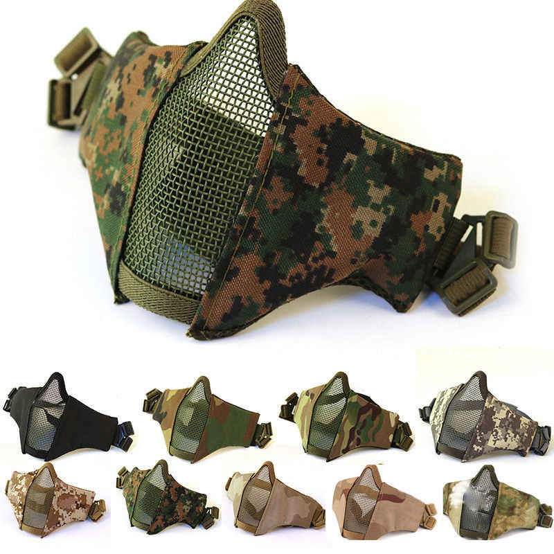 Tactical Mesh Mask Airsoft mask Shooting games mask Camo Half Face Protective Lower Mask Adult Breathable
