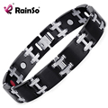 Rainso Mens Stainless Steel Nagetive Ion,FIR Health Power Energy Magnetic Bracelet with health Benefits OSB-020BSFIR