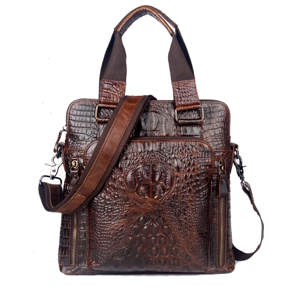 First Layer Cow Skin 100% Genuine Leather Bag For Men Crocodile Style Men's Business shoulder Messenge Bag handbags first layer cow skin 100