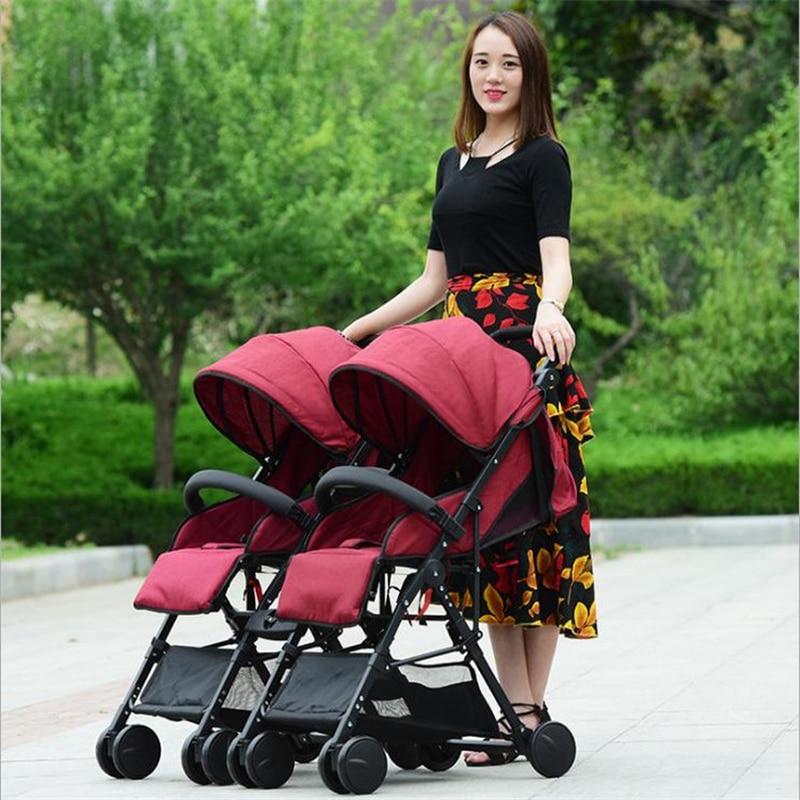 Split Up Double Baby Stroller 2 In 1 High View Newborn Baby Carriage Can Sit Lie Baby Twin Stroller Carrier Lightweight Pram недорого