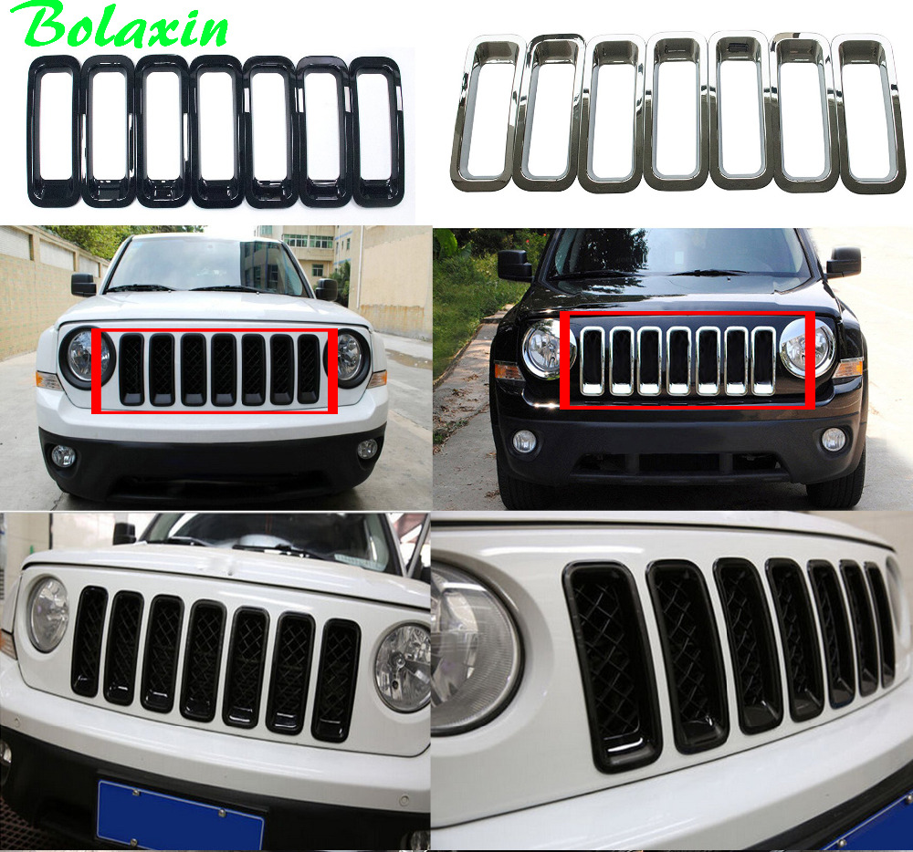 New Bolaxin Abs Chrome Front Mid Grill Grille Cover Racing Grills Decoration Trims Accessories For 2017 Jeep Patriot 7pcs