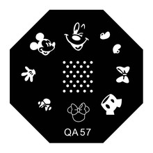 Hot Sale! Lovely Mouse Cartoon DIY Nail Art Stamping Plates #QA57 Hexagon Manicure Cute Templates Stamp Plate