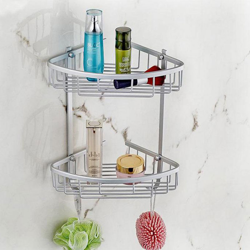 Aluminum Home Hook Shower Storage 2 Layer Bath Corner Shelf  Wall Mounted Basket Shelves Bathroom Accessories  800517